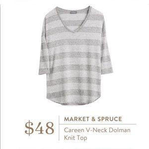 Market & Spruce Careen V-Neck Dolman Knit Top Gray